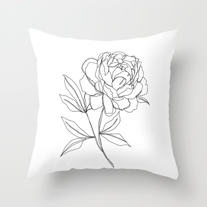Botanical illustration line drawing - Peony Throw Pillow