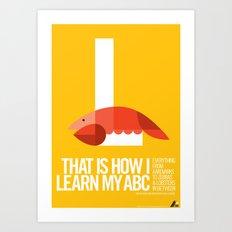 Animal Alphabet L Art Print