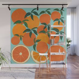 Orange Harvest - Blue Wall Mural