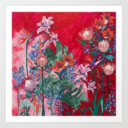 Ruby Red Floral Jungle Kunstdrucke