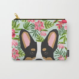 Tricolored Corgi Hawaiian Floral Print Carry-All Pouch