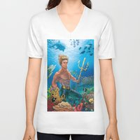 aquaman V-neck T-shirts featuring Aquaman Black Lagoon (Sun Kissed Water Version) by Brian Hollins art
