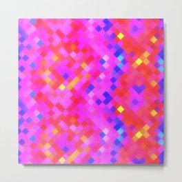 Red Pink Lilac Bright Squares Metal Print