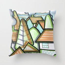 Color Landscape | Piliscsév, Hungary Throw Pillow