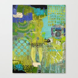 Being Green Abstract Art Collage Canvas Print