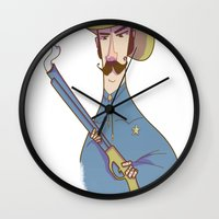 cowboy Wall Clocks featuring Cowboy by Franck Giusti