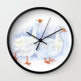 White Sebastopol Geese Watercolor Wall Clock