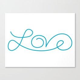 Love calligraphy print - Aqua blue Canvas Print