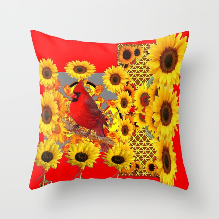 Red Cardinal Bird Yellow Sunflowers Abstract Throw Pillow