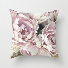 Roses, Pink Roses, Pastel Roses, Cottage Chic Roses Throw Pillow