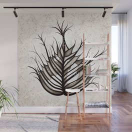 Abstract Hairy Leaf Art In Sepia Wall Mural