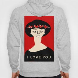 """Valentine's girl- with caption """"I love you"""" Hoody"""