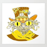 steam punk Art Prints featuring Steam Punk Cat by J&C Creations