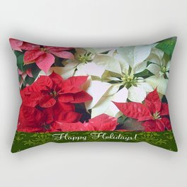 Mixed color Poinsettias 1 Happy Holidays S6F1 Rectangular Pillow