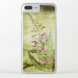 Decorative Green Floral Clear iPhone Case