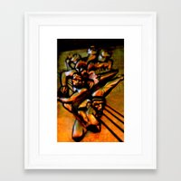 30 rock Framed Art Prints featuring 30 Rock iron by Illumination House