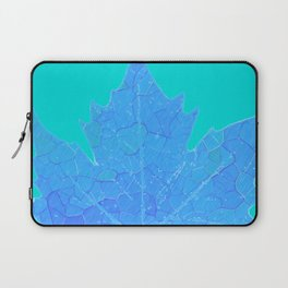Sycamore Stained Glass Tiffany style design Ice leaf on turquoise Laptop Sleeve
