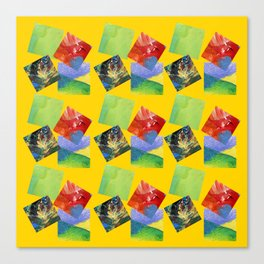 Painted Squares Jiggle - Yellow Canvas Print