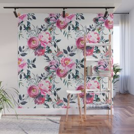 Modern hand painted blush pink yellow gray watercolor floral Wall Mural