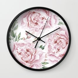 Pretty Pink Roses Flower Garden Wall Clock