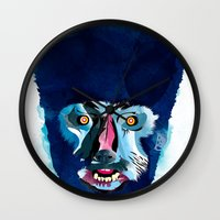 werewolf Wall Clocks featuring werewolf by Alvaro Tapia Hidalgo