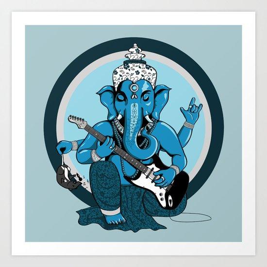 Ganesha rocks ! (v2) Art Print