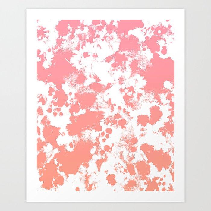 Breah - ombre peach pastel pink glow gender neutral baby nursery office decor Art Print