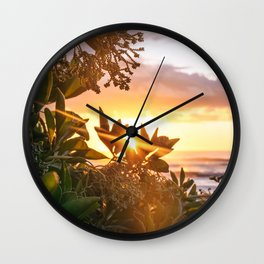 Kauai Hawaii Sunrise | Tropical Beach Nature Ocean Coastal Travel Photography Print Wall Clock