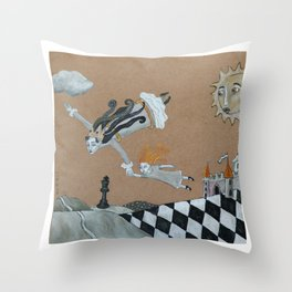 Alice and The Queen Throw Pillow