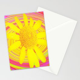 Yellow Sunflower on a Fuchsia Psychedelic Swirl Stationery Cards