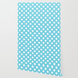 Sky blue (Crayola) - heavenly - White Polka Dots - Pois Pattern Wallpaper