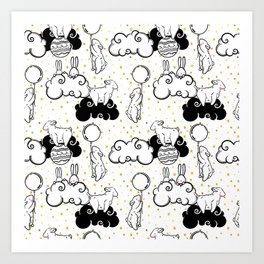 Cute vector seamless pattern of animals children, rabbits, sheep, balls and clouds and golden stars Art Print