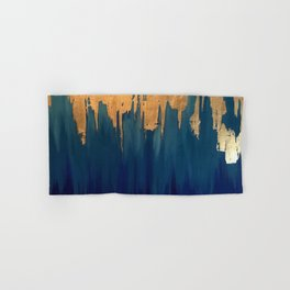 Gold Leaf & Blue Abstract Hand & Bath Towel