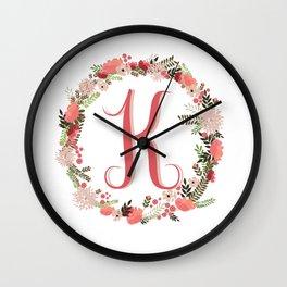 Personal monogram letter 'K' flower wreath Wall Clock