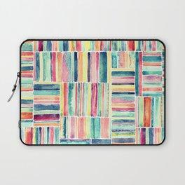 Retro Beach Chair Pastel Watercolor Stripes Laptop Sleeve