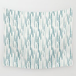 Tropical Dark Teal Abstract Grunge Vertical Stripe Pattern Inspired by Sherwin Williams 2020 Trending Color Oceanside SW6496 on Off White Wall Tapestry