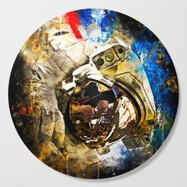 astronaut in space splatter watercolor Cutting Board
