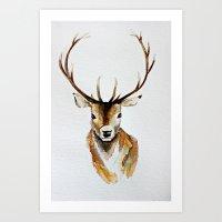 craftberrybush Art Prints featuring Buck - Watercolor by craftberrybush