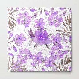 Watercolor lavender lilac brown modern floral Metal Print