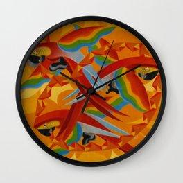 Scarlet Macaws (Parrots) by Giacomo Balla Wall Clock
