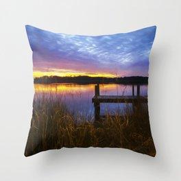 Sunset at Denbigh Pier II Throw Pillow