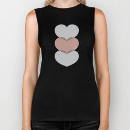 Hearts - Cocoa & Gray Biker Tank