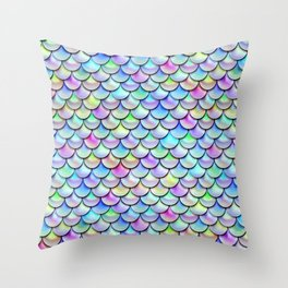 Rainbow Bubble Scales Throw Pillow