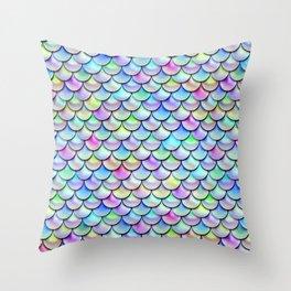 Rainbow Bubble Scales Throw Pillow