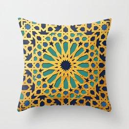 -A1_2- Golden Original Traditional Moroccan Artwork. Throw Pillow