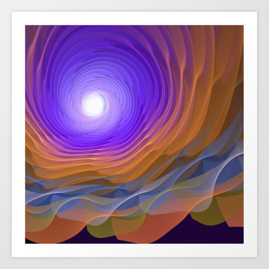 Whispering water and a blue moon Art Print