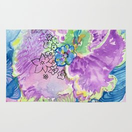 Purple Abstract Floral Rug