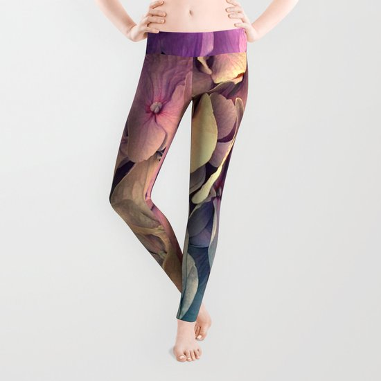 Soft Multi Color Hydrangea Leggings