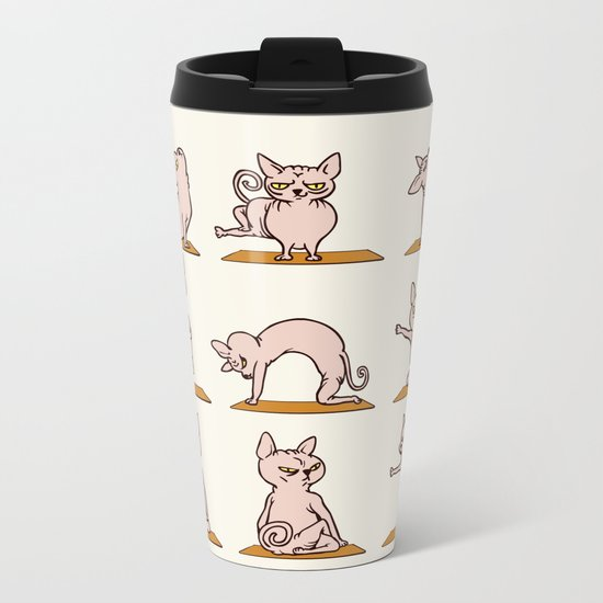 Sphynx Cat Yoga Metal Travel Mug