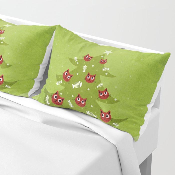 Cat Christmas Tree Pillow Sham